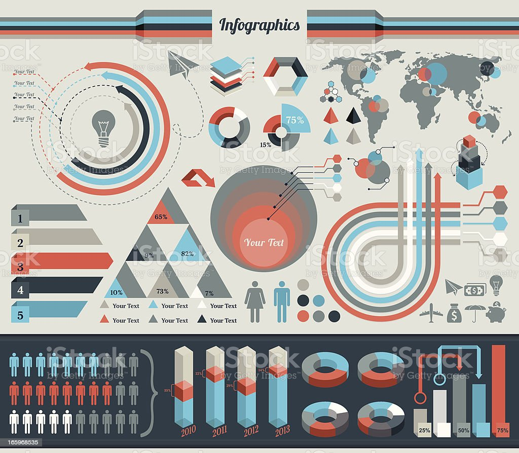 An infographic with several charts and graphs vector art illustration