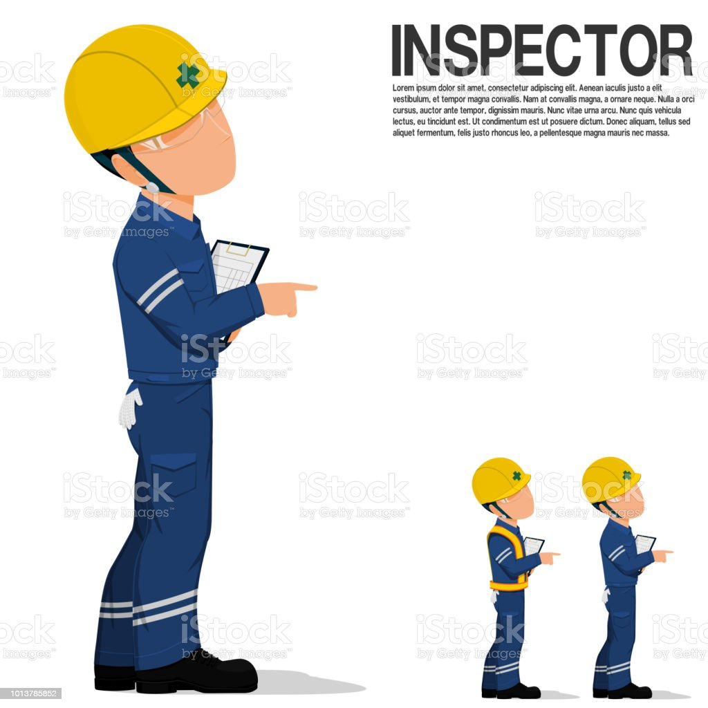 An inspector is pointing something on transparent background vector art illustration