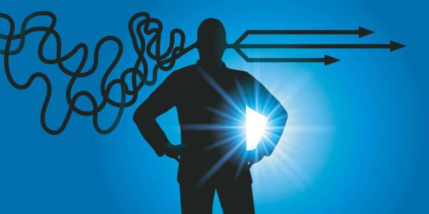 An intelligent man facing a problem, finds solutions after reflection. vector art illustration