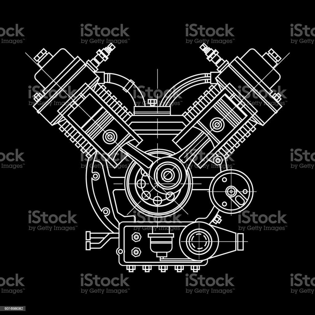 Eines Verbrennungsmotors Die Zeichnung Motor Der Maschine Im ...