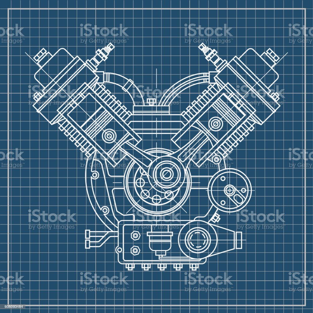 An Internal Combustion Motor The Drawing Engine Of Machine In Diagram Pistons Schedule Section Illustrating