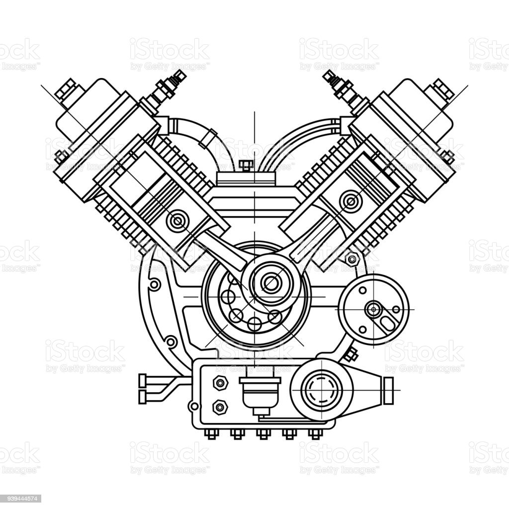an internal bustion motor the drawing engine of the machine in Basic Internal Combustion Engine an internal bustion motor the drawing engine of the machine in section illustrating the inner structure the cylinders pistons the spark plug