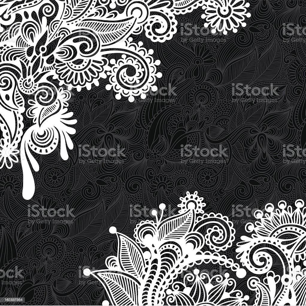 An intricate black and white ornate card royalty-free stock vector art
