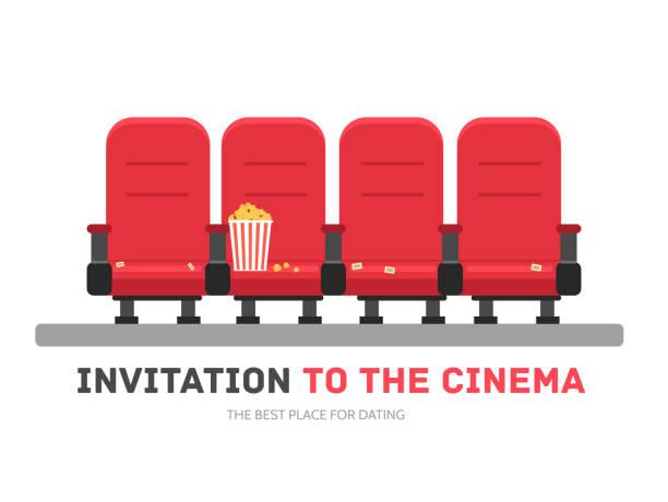 bildbanksillustrationer, clip art samt tecknat material och ikoner med an invitation to the movie in flat design background concept - sittplats