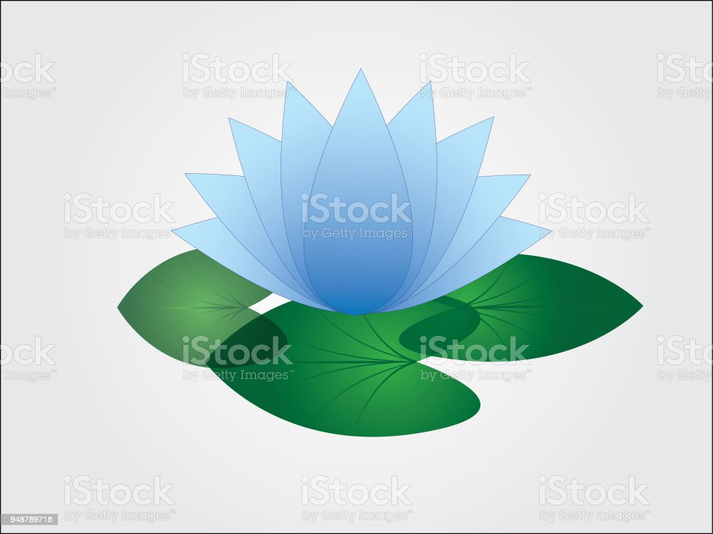 An Isolated Cool And Simple Blue Lotus Flower With Leaf In White