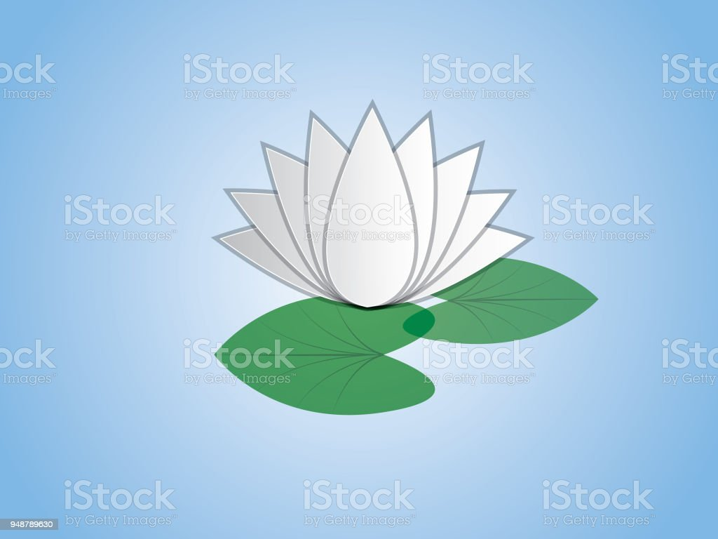 An Isolated Cool And Simple White Lotus Flower With Leaf In Blue