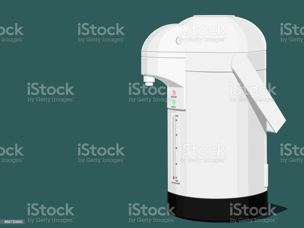 An Isolated electric kettle on blue background vector art illustration