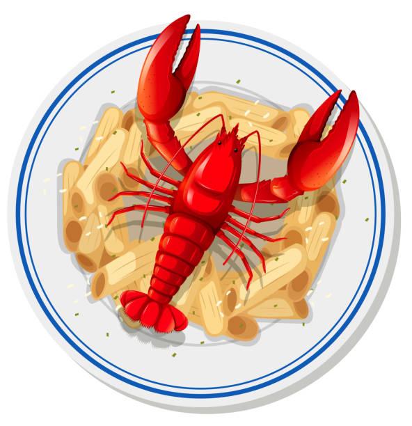 An isolated lobster pasta An isolated lobster pasta  illustration penne stock illustrations