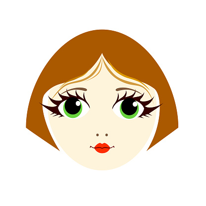 An Isolated Wind Avatar Of A Beautiful Young Girl With A Short Haircut And Big Eyes