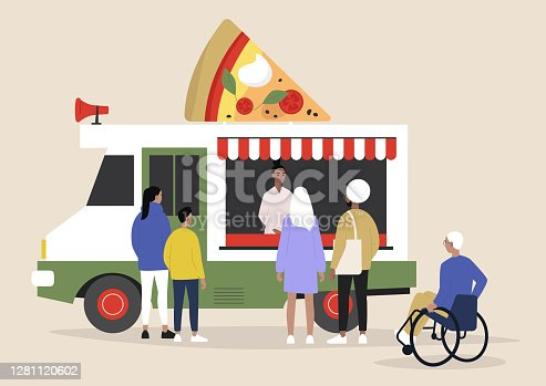 An Italian pizza food truck, people ordering and waiting their takeaway food