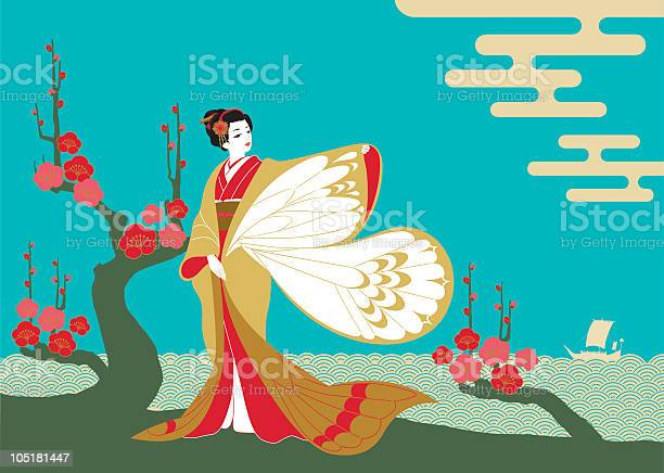 An lustration of a woman in a kimono with butterfly sleeves vector id105181447?b=1&k=6&m=105181447&s=612x612&h=hndgr5varf21utfm2h99hguupjgfbuk1gg9ab0ko7a8=