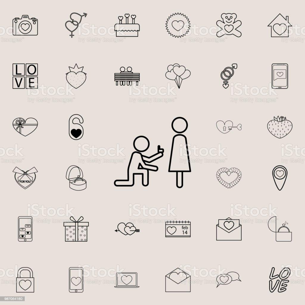 Ein Angebot Der Ehesymbol Detaillierte Set Von Valentine Icons