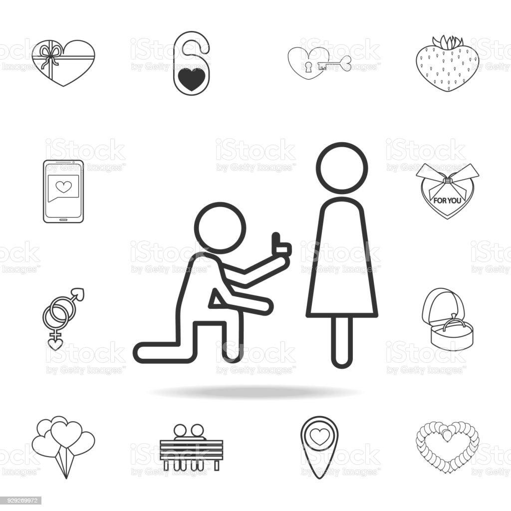 Ein Angebot Der Ehesymbol Satz Von Liebe Elementsymbole ...
