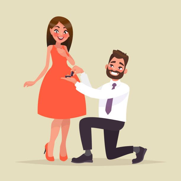 ilustraciones, imágenes clip art, dibujos animados e iconos de stock de una oferta de matrimonio. hombre propone a una mujer para casarse con él y le da un anillo de compromiso - prometido