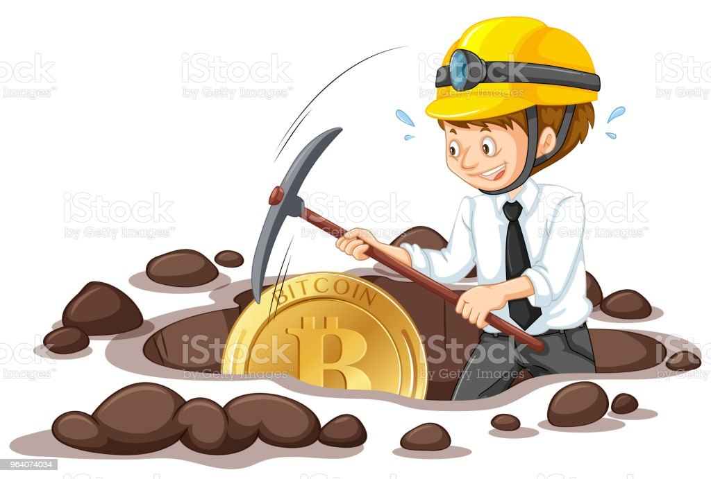 An Office Worker Mining Bitcoin - Royalty-free Art stock vector