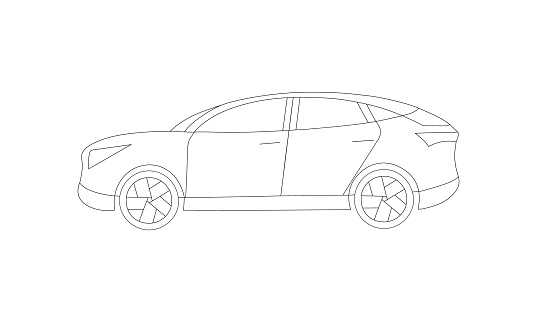 An off-road car for couple family usage or race. Side view lineart