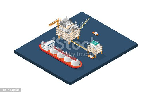 istock An oil platform, offshore platform, or offshore drilling rig with isometric graphic 1315148646