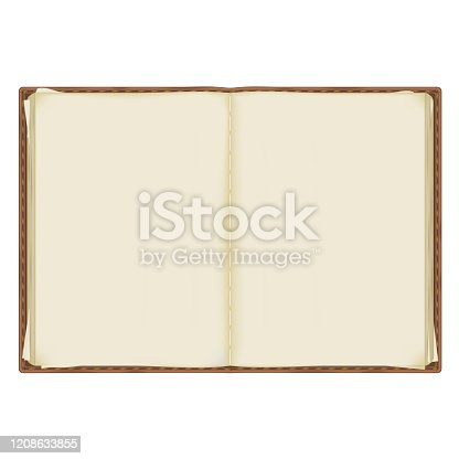 istock an old, battered notebook with yellowed pages bound in leather. isolated on a white background 1208633855