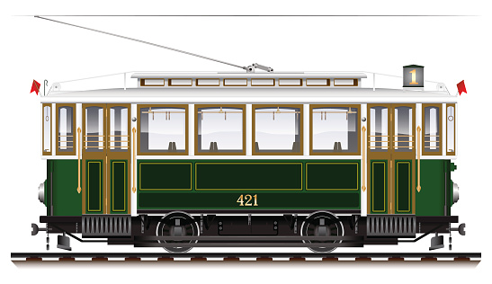 An old biaxial tram of green color. City Ecological transport.