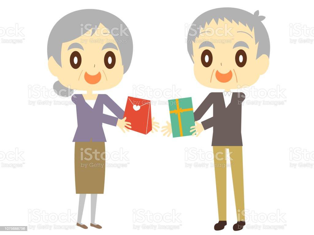 Un Vieux Couple échanger Des Cadeaux Vecteurs Libres De