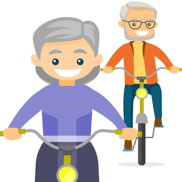 an old couple riding bikes - old man on bike stock illustrations, clip art, cartoons, & icons