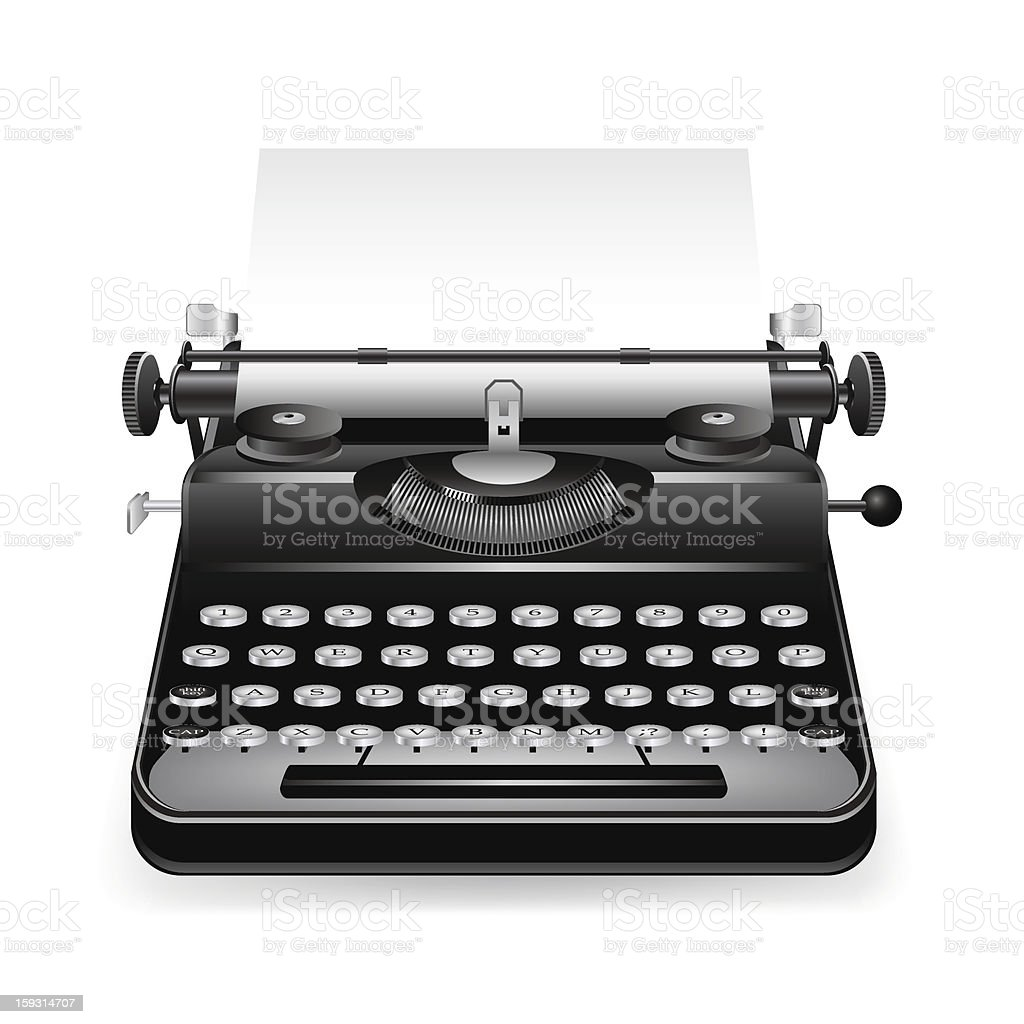 An old fashion non-electric black typewriter vector art illustration