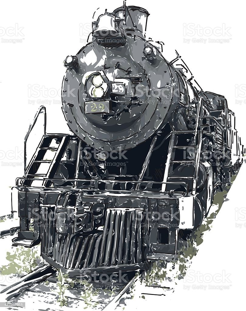 An old steam train frontal view vector art illustration