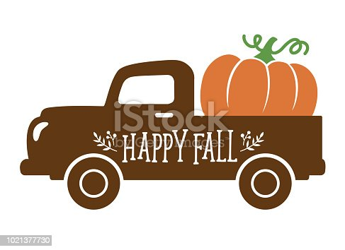 istock An Old Vintage Truck carrying a Pumpkin in Fall 1021377730