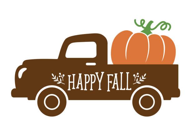 An Old Vintage Truck carrying a Pumpkin in Fall An old vintage truck with harvest pumpkin. Fall pumpkin vector illustration. pumpkin stock illustrations