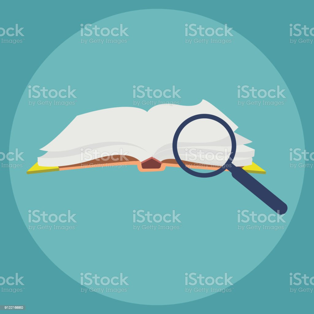 Ein offenes Buch und eine Lupe – Vektorgrafik