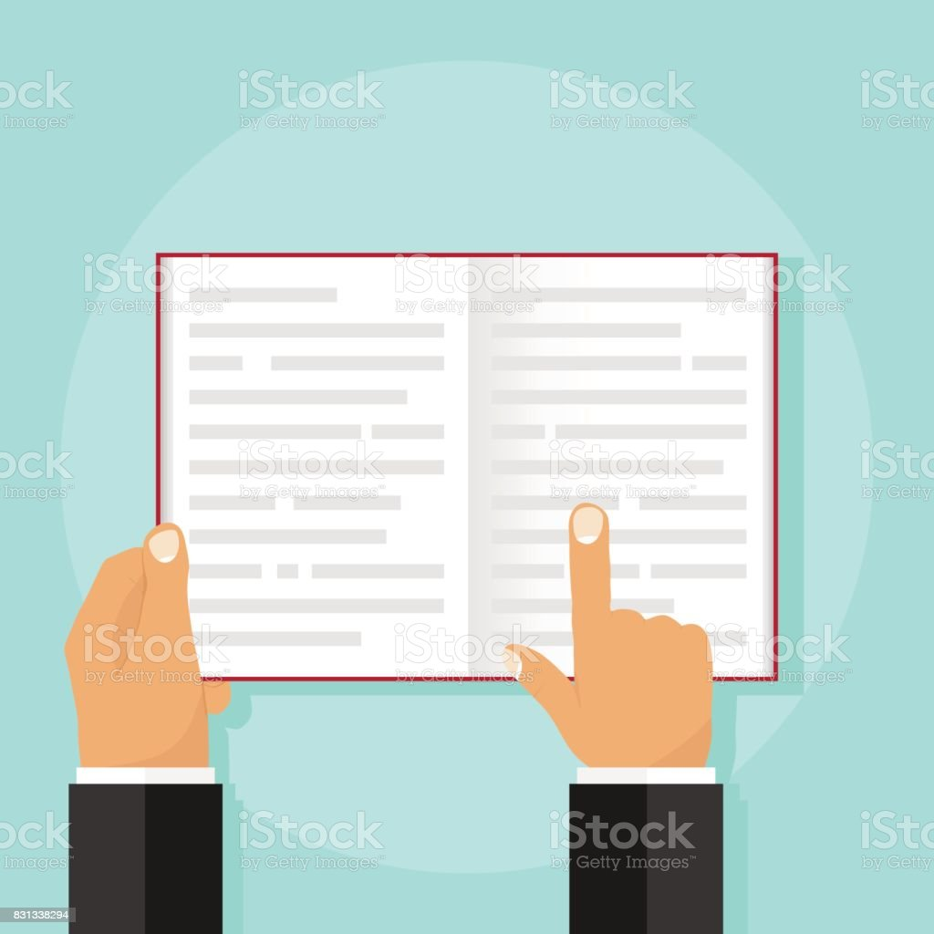 An open book in the hands of a man vector art illustration