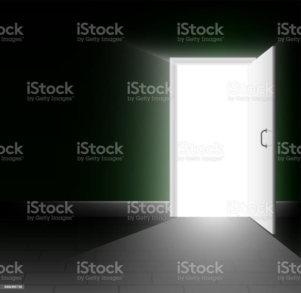 An Open Door In A Dark Room A Ray Of Light Shines Into The