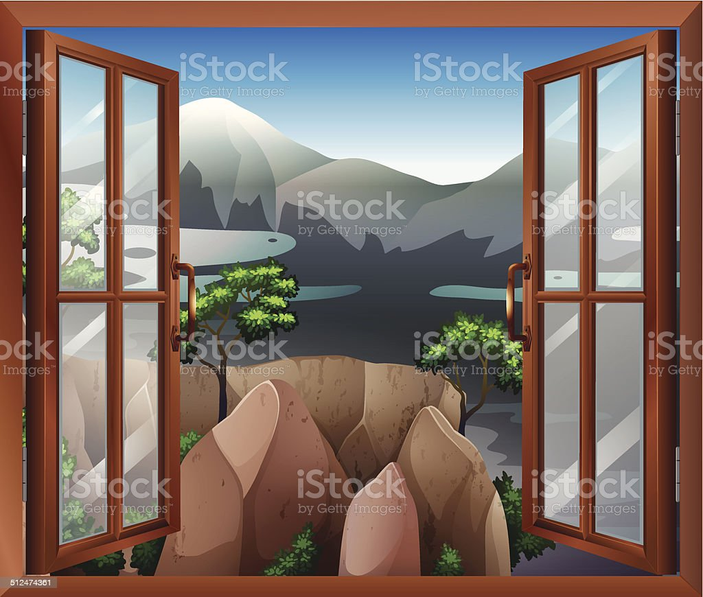 An open window with a view of the cliff vector art illustration