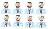 An optometrist. Emotions of a young ophthalmologist. Isolated on a white background. Vector illustration in cartoon style. Joy, cunning, anger, anger, sadness, surprise, contempt, calm.