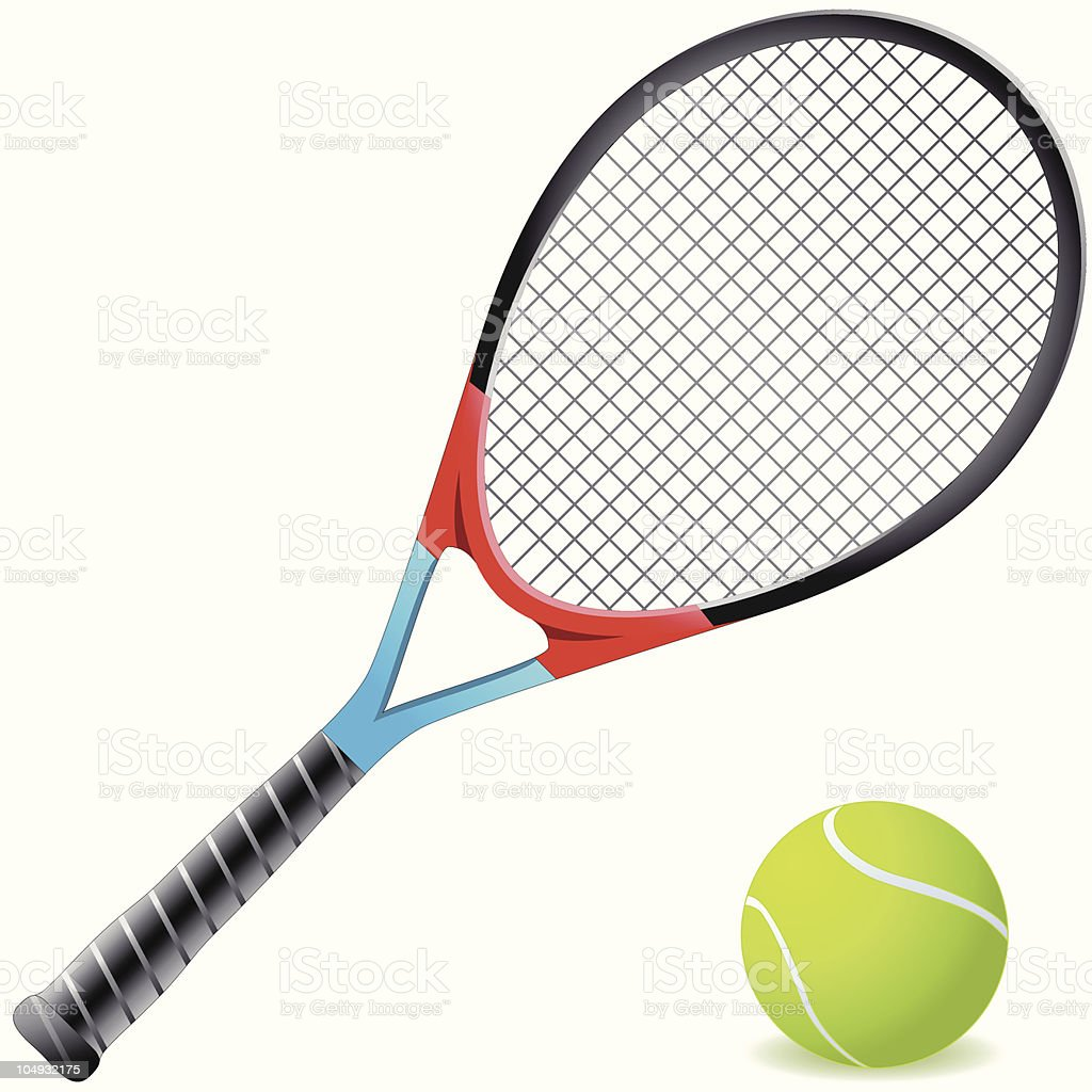 An orange and blue tennis racket with a tennis ball vector art illustration