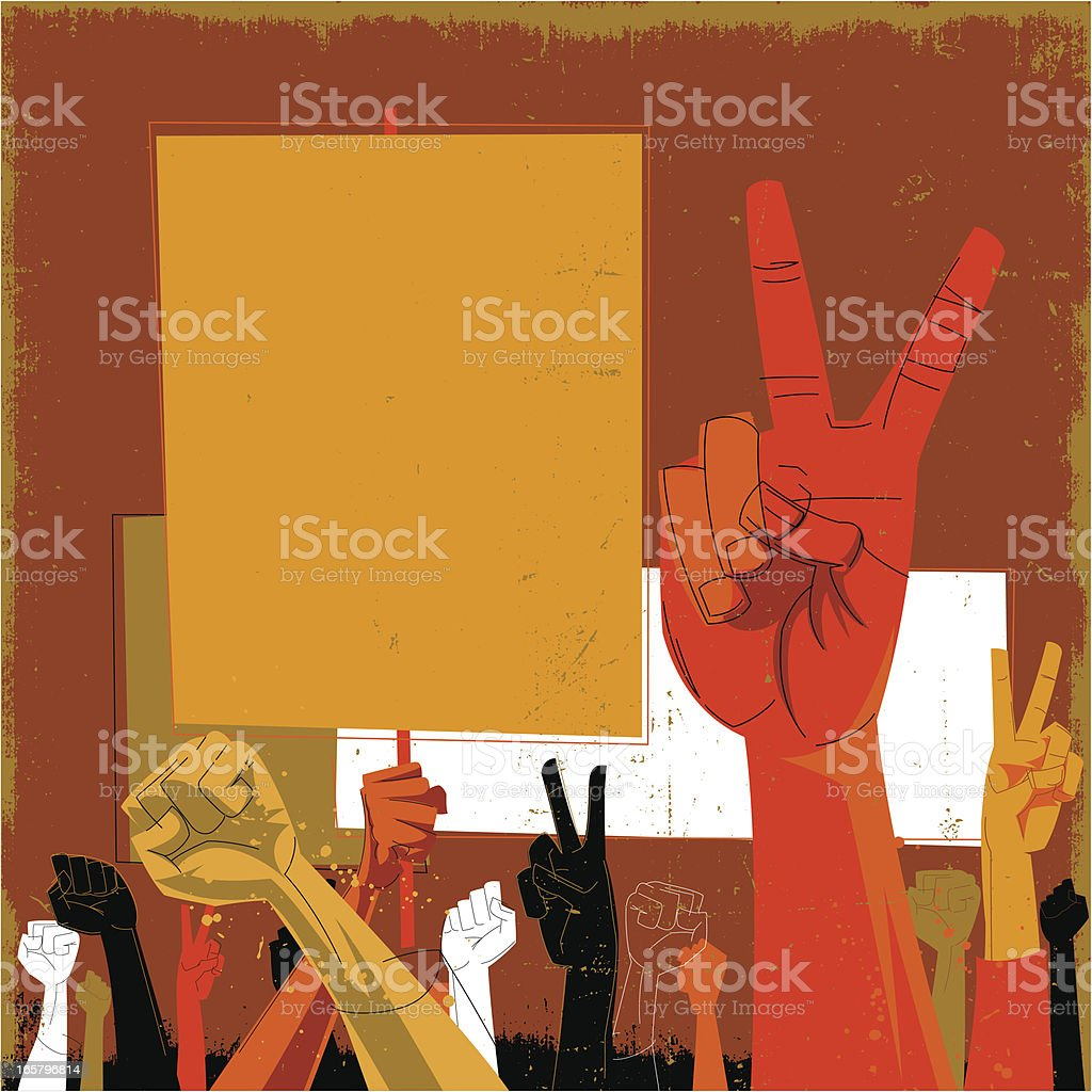 An orange and red toned drawing of hands protesting