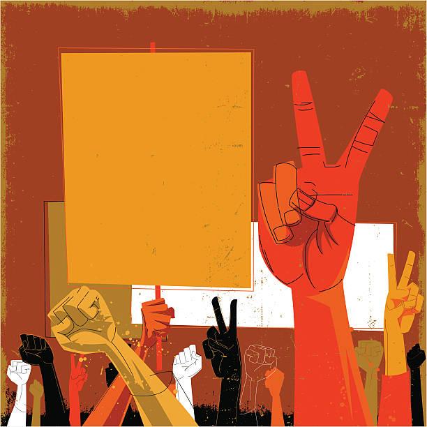 bildbanksillustrationer, clip art samt tecknat material och ikoner med an orange and red toned drawing of hands protesting - parad