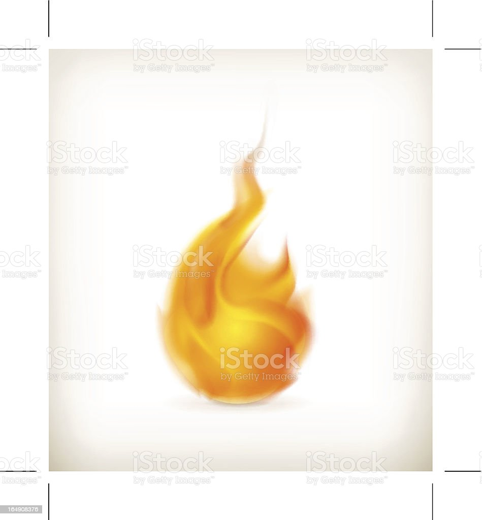 An orange depiction of a flame on a white background  vector art illustration