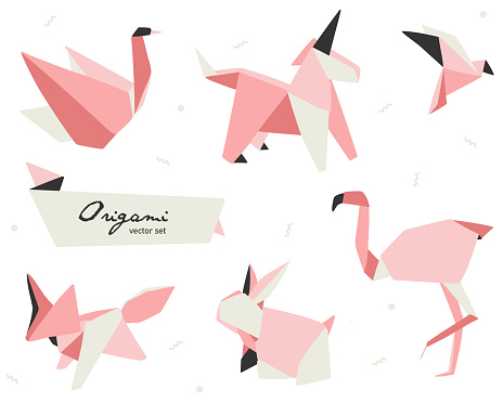 An origami set vector illustration with figures of swan; unicorn; fox; bird; flamingo and rabbit. Perfect for pink lovers and baby shower.