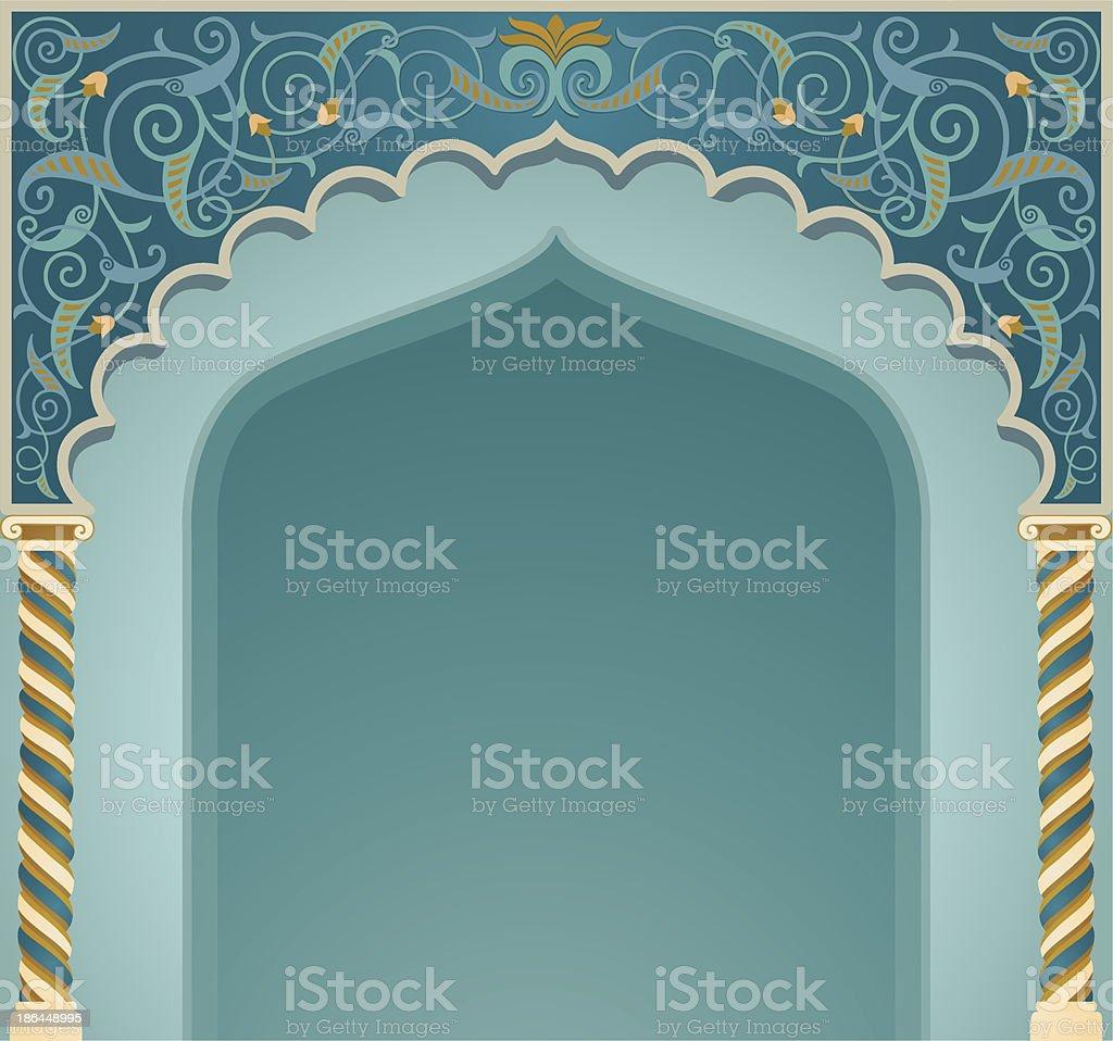An ornate blue Islamic arch design vector art illustration