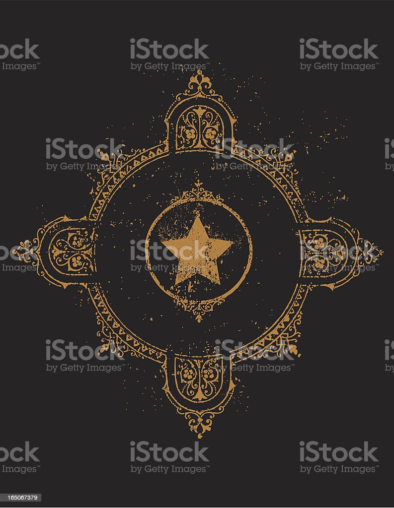 An ornate gold frame on a black background royalty-free stock vector art