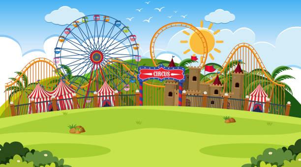 Eine Outdoor-Szene mit Zirkus – Vektorgrafik