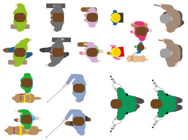 オーバーヘッド ビュー。人々。道路設計材料。ベクトル材料 - 人 俯瞰点のイラスト素材/クリップアート素材/マンガ素材/アイコン素材