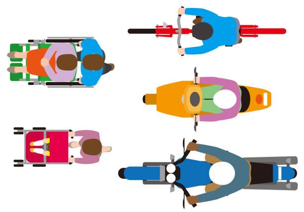 illustrazioni stock, clip art, cartoni animati e icone di tendenza di an overhead view. vehicles such as light vehicles, road design materials, vector materials - solo giapponesi