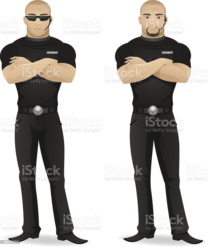 Мan security guard of nightclub vector art illustration