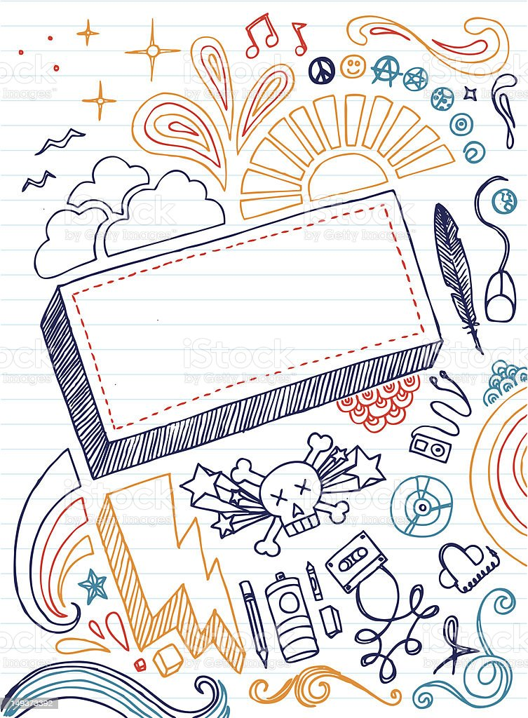 An sketch notebook full of doodles vector art illustration