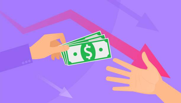 An unemployment benefits and cash assistance. vector art illustration