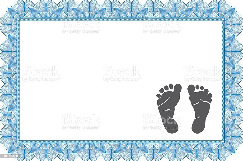 An unmarked birth certificate with a blue ribbon pattern  vector art illustration
