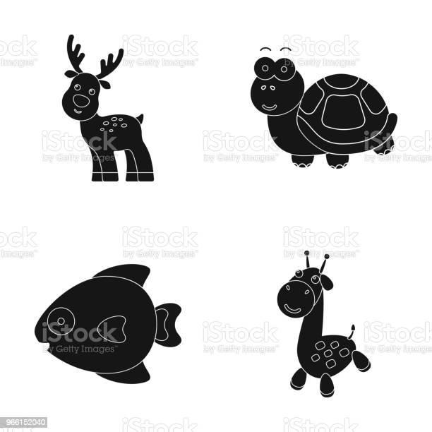 An Unrealistic Black Animal Icons In Set Collection For Design Toy Animals Vector Symbol Stock Web Illustration — стоковая векторная графика и другие изображения на тему Без людей