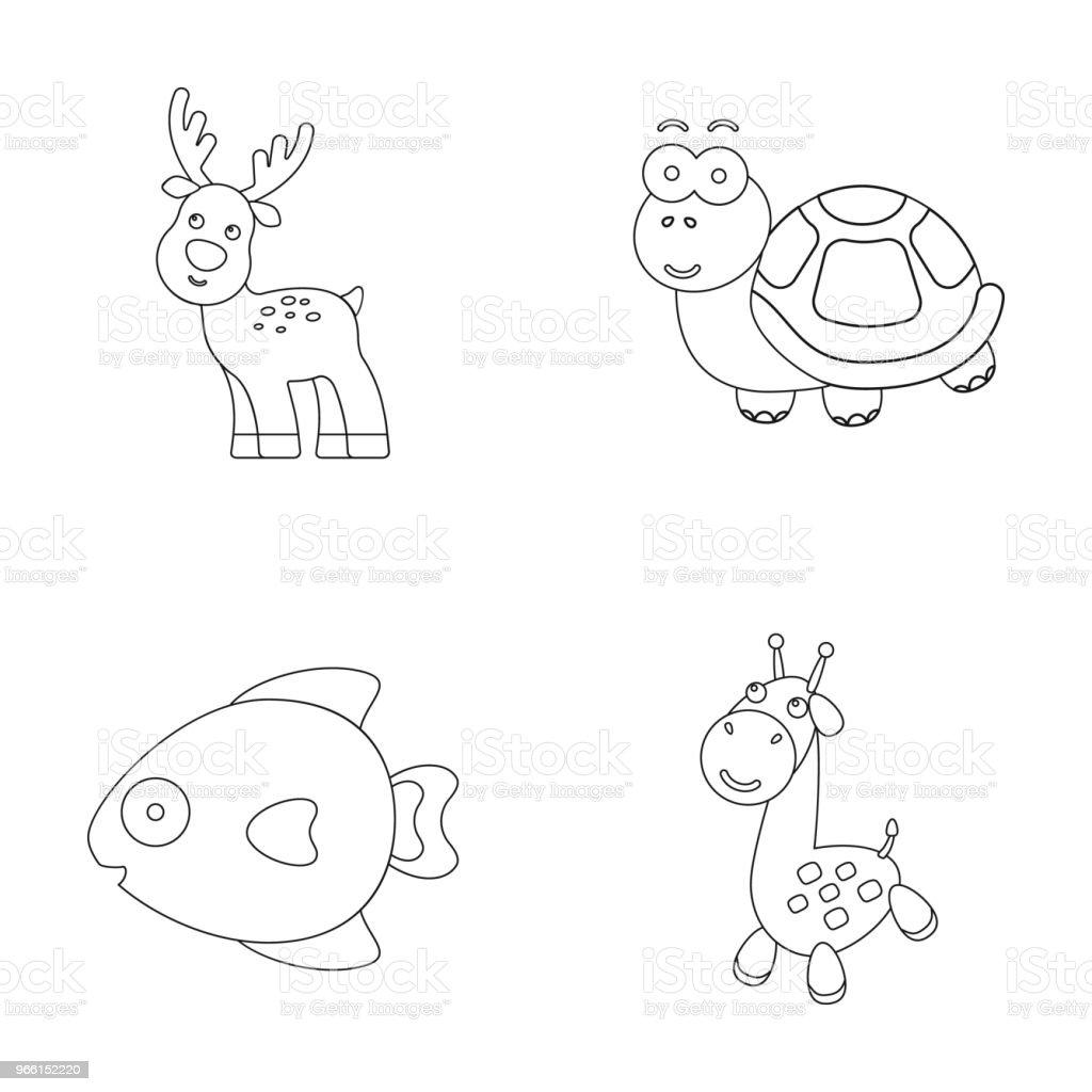 Een onrealistisch overzicht dierlijke pictogrammen in set collectie voor design. Speelgoed dieren vector symbool voorraad web illustratie. - Royalty-free Boerderij vectorkunst